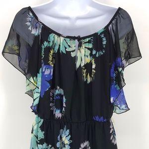 Iz Byer Dresses - IZ Byer Black Floral Short Sleeve Mini Dress